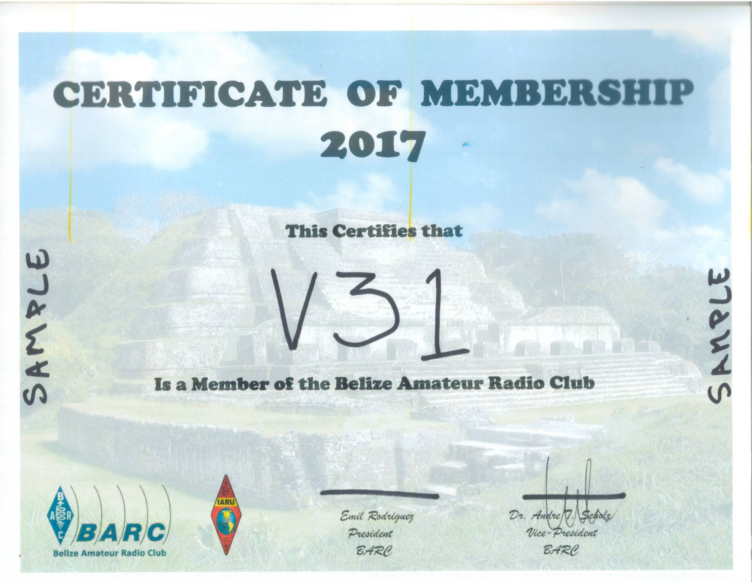 BARC Sample Certificate